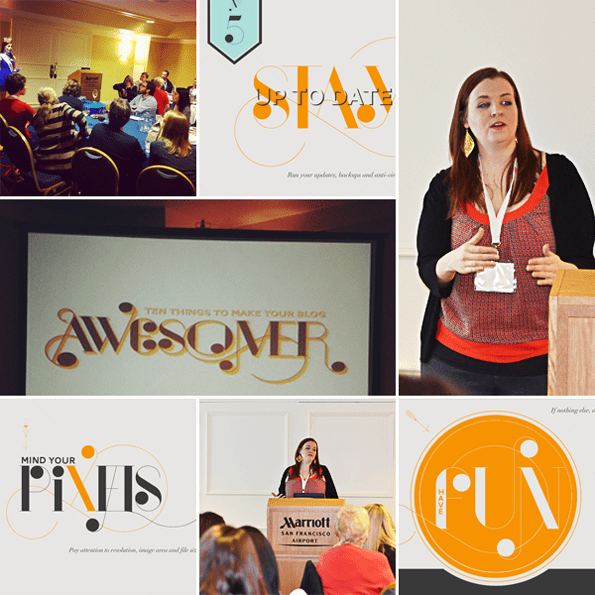 """A collage of images from Mary Fran's """"10 things to make your blog more awesome"""" presentation"""