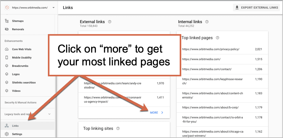 search console linked pages