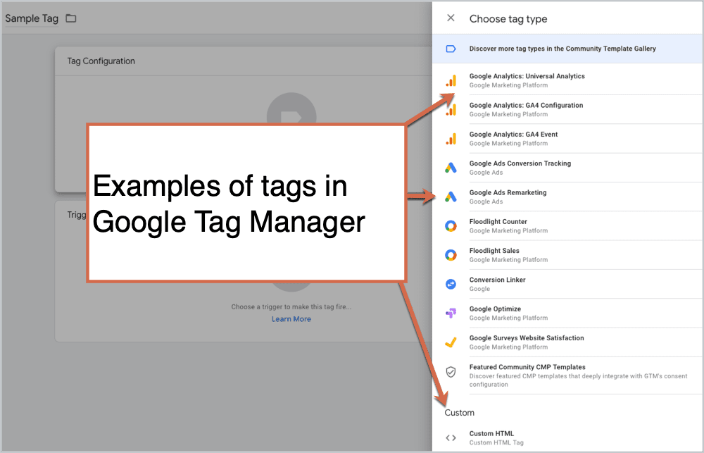 Examples of tags in Google Tag Manager
