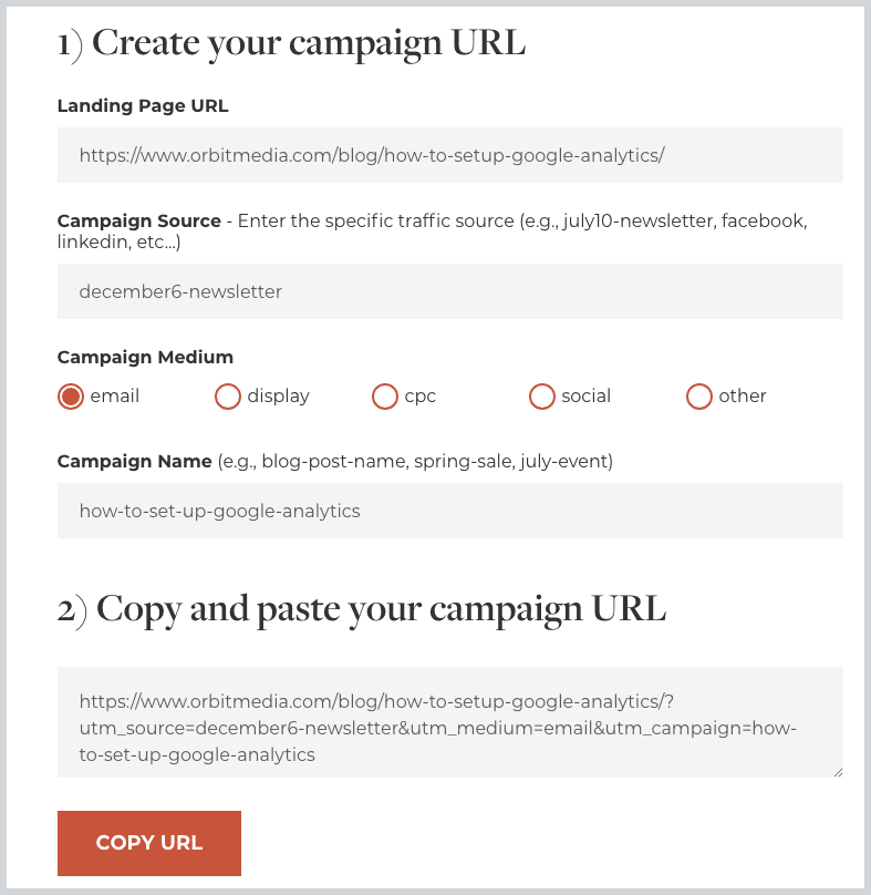 Google URL Builder: How to Track Campaigns in Analytics | Orbit