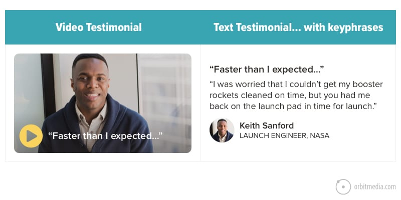 example of a video testimonial on a b2b service page