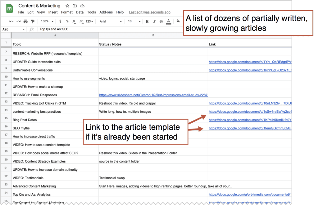 keep a list of articles in a spreadsheet