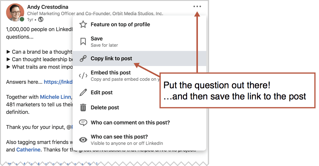 how to save a post on linkedin