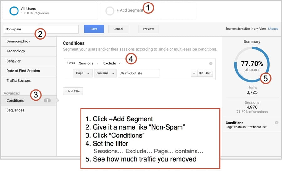 spam segment in google analytics