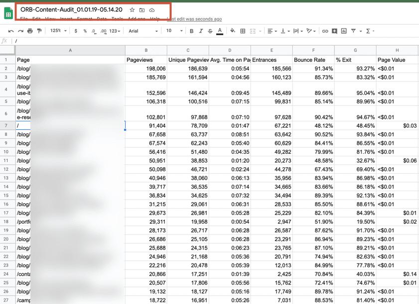 Google Analytics pageviews export - sorted